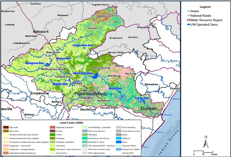 Land cover in the uMngeni and Mooi catchment. Source: Jewitt et al. (2015)
